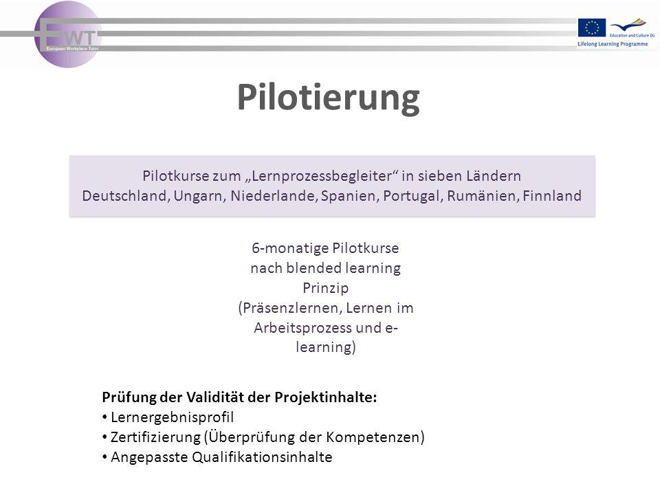 Pilotierung Prüfung der Validität der Projektinhalte: Lernergebnisprofil Zertifizierung (Überprüfung der Kompetenzen) Angepasste Qualifikationsinhalte