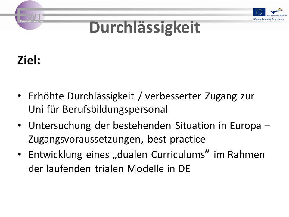 Durchlässigkeit Ziel: Erhöhte Durchlässigkeit / verbesserter Zugang zur Uni für Berufsbildungspersonal Untersuchung der bestehenden Situation in Europ