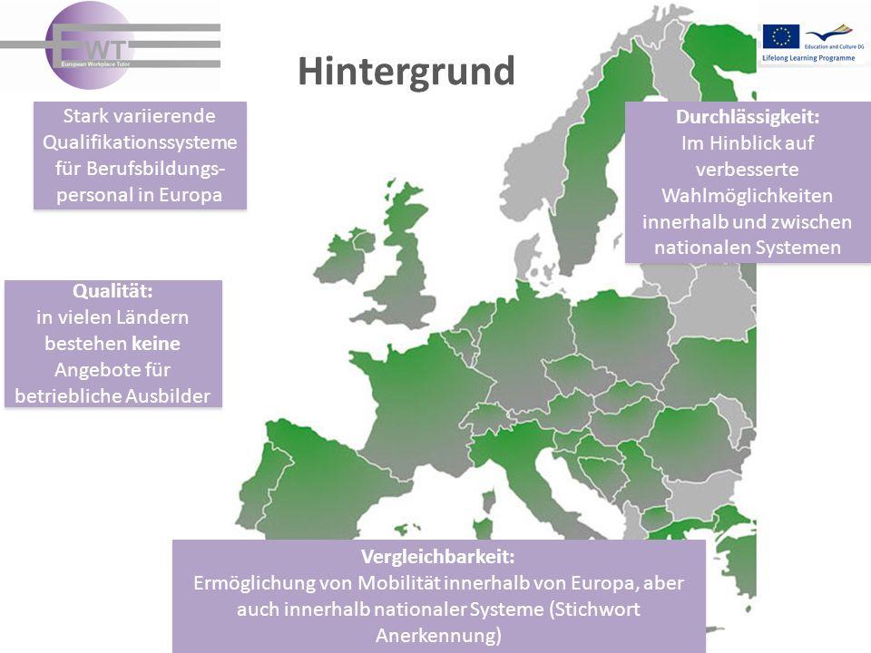 Hintergrund Stark variierende Qualifikationssysteme für Berufsbildungs- personal in Europa Stark variierende Qualifikationssysteme für Berufsbildungs- personal in Europa Durchlässigkeit: Im Hinblick auf verbesserte Wahlmöglichkeiten innerhalb und zwischen nationalen Systemen Durchlässigkeit: Im Hinblick auf verbesserte Wahlmöglichkeiten innerhalb und zwischen nationalen Systemen Vergleichbarkeit: Ermöglichung von Mobilität innerhalb von Europa, aber auch innerhalb nationaler Systeme (Stichwort Anerkennung) Vergleichbarkeit: Ermöglichung von Mobilität innerhalb von Europa, aber auch innerhalb nationaler Systeme (Stichwort Anerkennung) Qualität: in vielen Ländern bestehen keine Angebote für betriebliche Ausbilder Qualität: in vielen Ländern bestehen keine Angebote für betriebliche Ausbilder