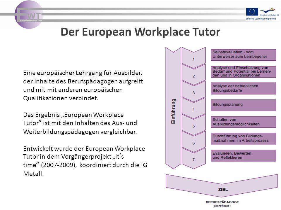 Der European Workplace Tutor Eine europäischer Lehrgang für Ausbilder, der Inhalte des Berufspädagogen aufgreift und mit mit anderen europäischen Qual