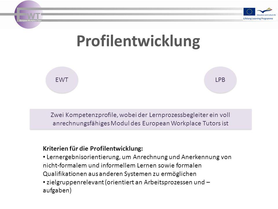 Profilentwicklung EWT LPB Kriterien für die Profilentwicklung: Lernergebnisorientierung, um Anrechnung und Anerkennung von nicht-formalem und informellem Lernen sowie formalen Qualifikationen aus anderen Systemen zu ermöglichen zielgruppenrelevant (orientiert an Arbeitsprozessen und – aufgaben) Zwei Kompetenzprofile, wobei der Lernprozessbegleiter ein voll anrechnungsfähiges Modul des European Workplace Tutors ist