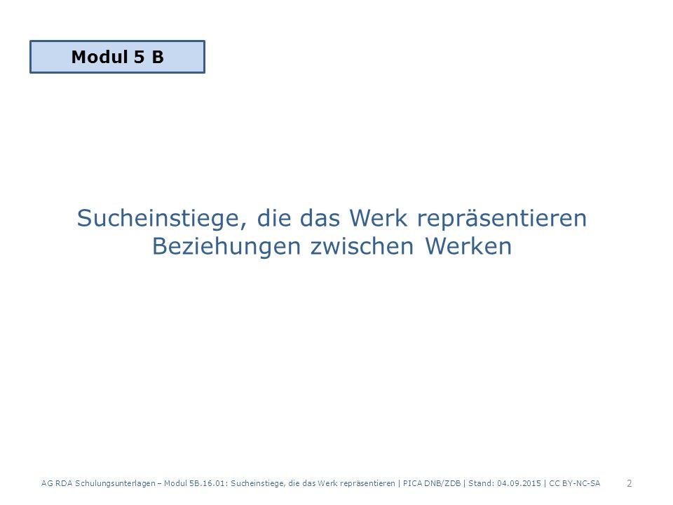 Sucheinstiege, die das Werk repräsentieren Beziehungen zwischen Werken AG RDA Schulungsunterlagen – Modul 5B.16.01: Sucheinstiege, die das Werk repräsentieren | PICA DNB/ZDB | Stand: 04.09.2015 | CC BY-NC-SA 2 Modul 5 B