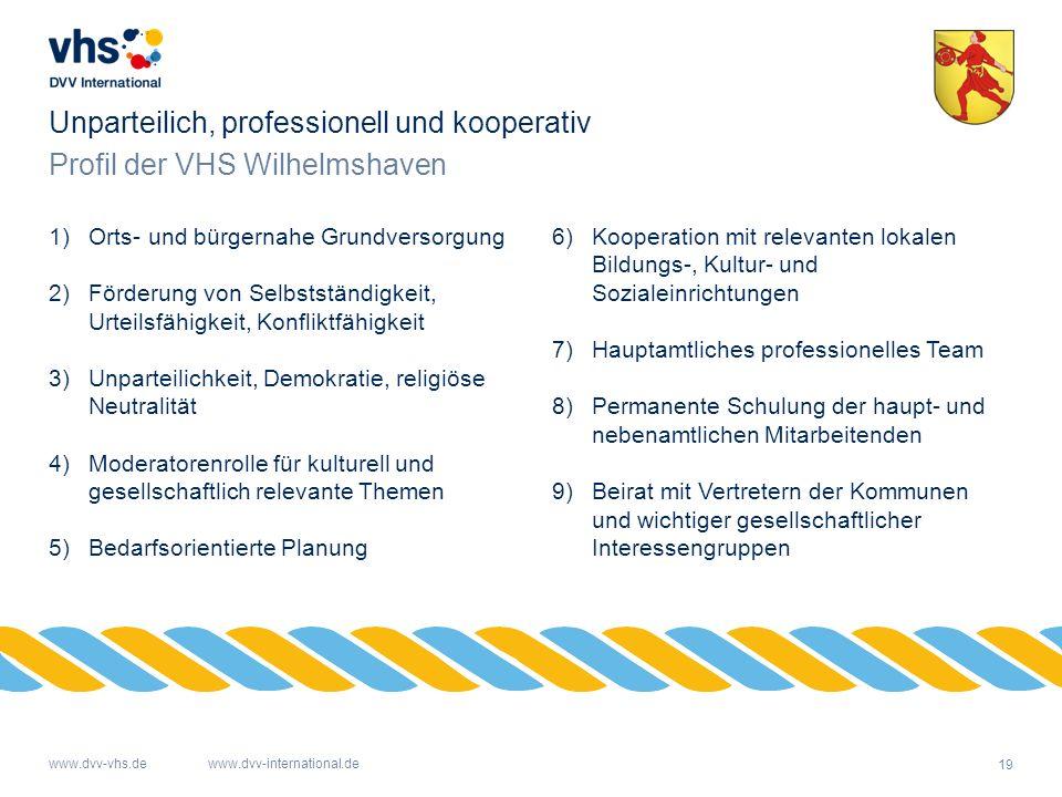 19 www.dvv-vhs.dewww.dvv-international.de Profil der VHS Wilhelmshaven Unparteilich, professionell und kooperativ 1)Orts- und bürgernahe Grundversorgu