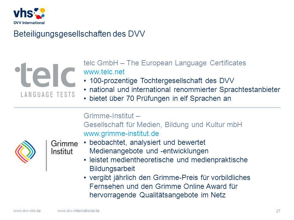 27 www.dvv-vhs.dewww.dvv-international.de Beteiligungsgesellschaften des DVV telc GmbH – The European Language Certificates www.telc.net 100-prozentig