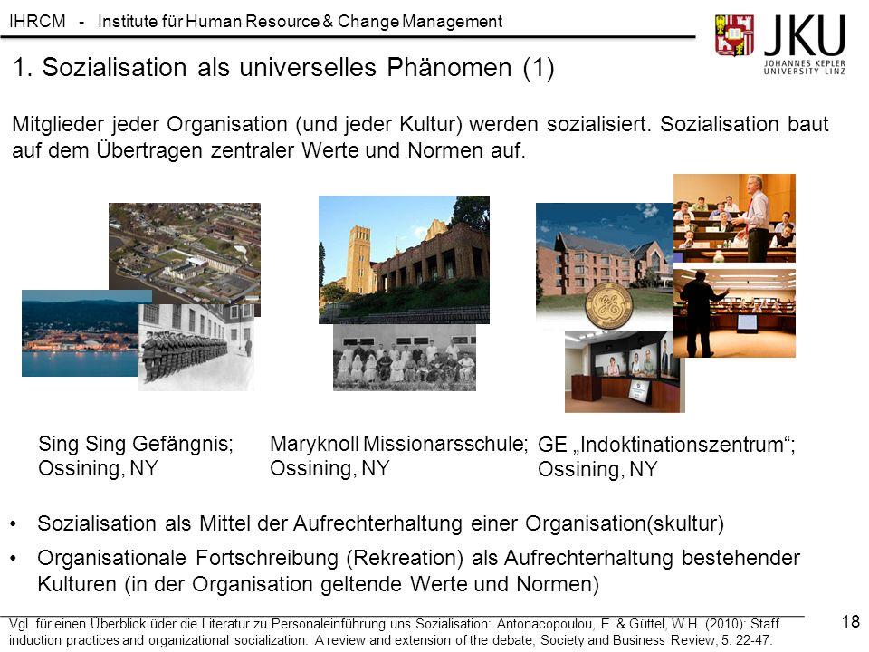 IHRCM - Institute für Human Resource & Change Management Mitglieder jeder Organisation (und jeder Kultur) werden sozialisiert.
