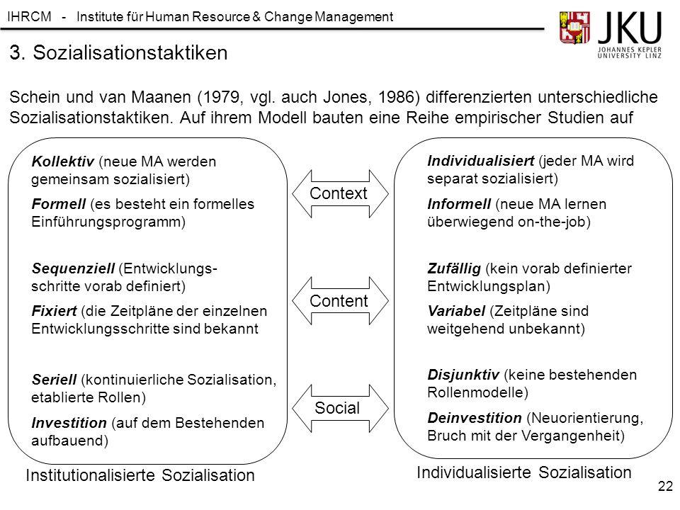 IHRCM - Institute für Human Resource & Change Management Schein und van Maanen (1979, vgl.