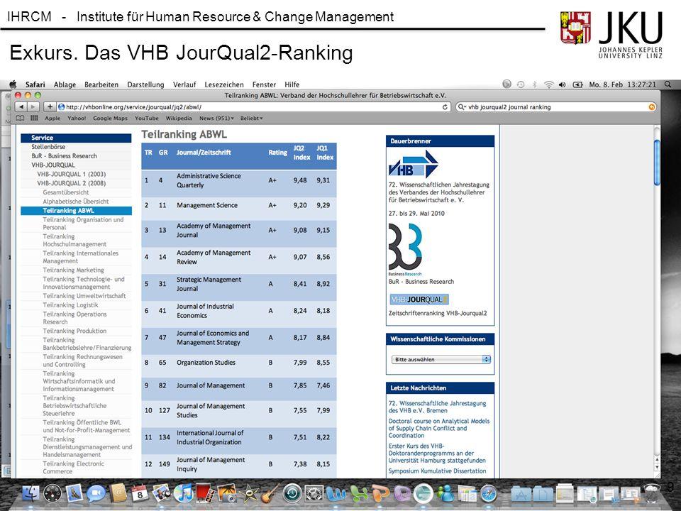 IHRCM - Institute für Human Resource & Change Management Exkurs. Das VHB JourQual2-Ranking 9