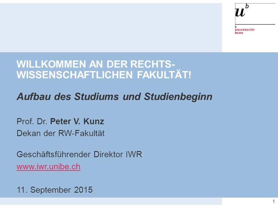 22 Wichtige Institutsadressen für das erste Semester  Privatrecht: www.ziv.unibe.ch UniS, Gebäude D, 2.