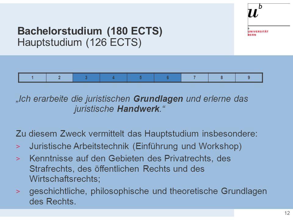 """12 123456789 Bachelorstudium (180 ECTS) Hauptstudium (126 ECTS) """"Ich erarbeite die juristischen Grundlagen und erlerne das juristische Handwerk."""" Zu d"""