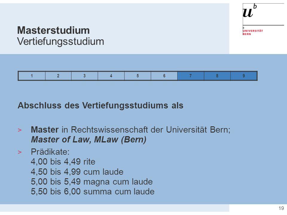 19 Abschluss des Vertiefungsstudiums als  Master in Rechtswissenschaft der Universität Bern; Master of Law, MLaw (Bern)  Prädikate: 4,00 bis 4,49 ri