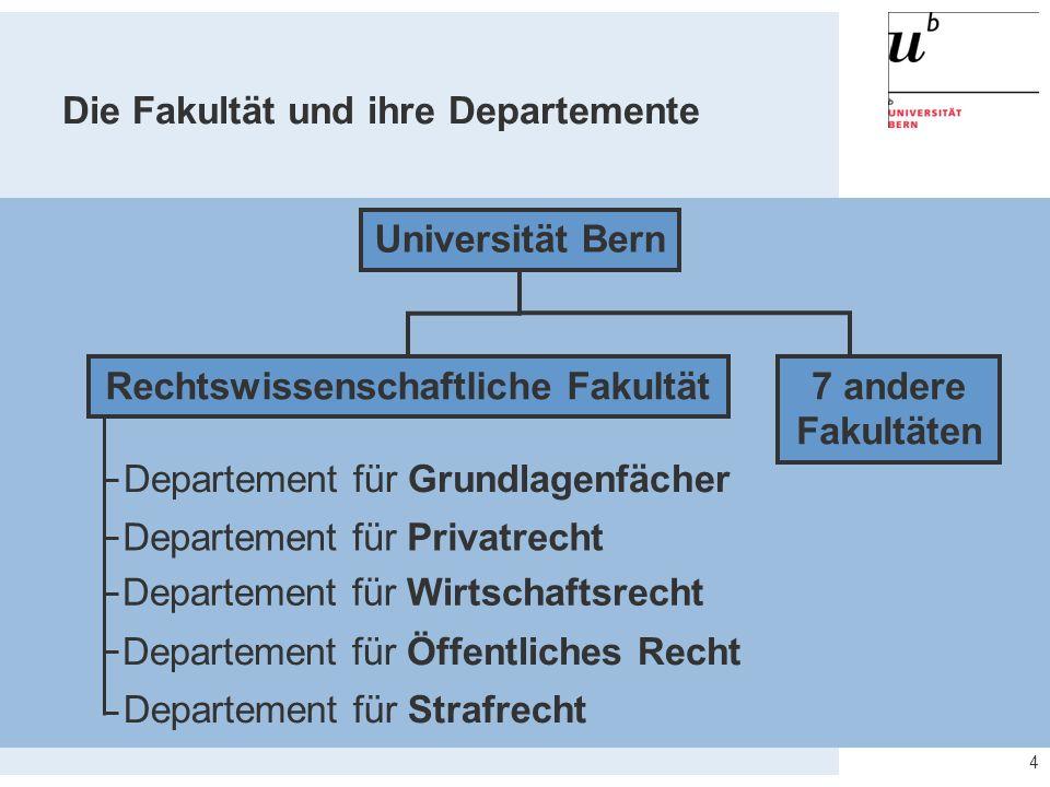 4 Universität Bern Rechtswissenschaftliche Fakultät Departement für Privatrecht Departement für Öffentliches Recht Departement für Strafrecht Departem