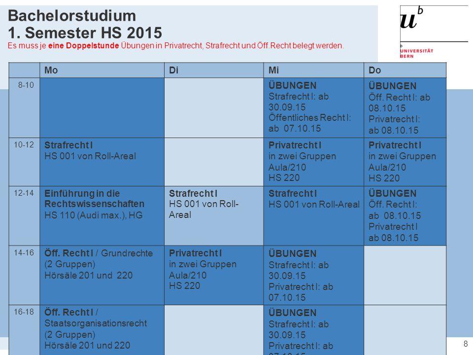 19 Abschluss des Vertiefungsstudiums als  Master in Rechtswissenschaft der Universität Bern; Master of Law, MLaw (Bern)  Prädikate: 4,00 bis 4,49 rite 4,50 bis 4,99 cum laude 5,00 bis 5,49 magna cum laude 5,50 bis 6,00 summa cum laude Masterstudium Vertiefungsstudium 123456789