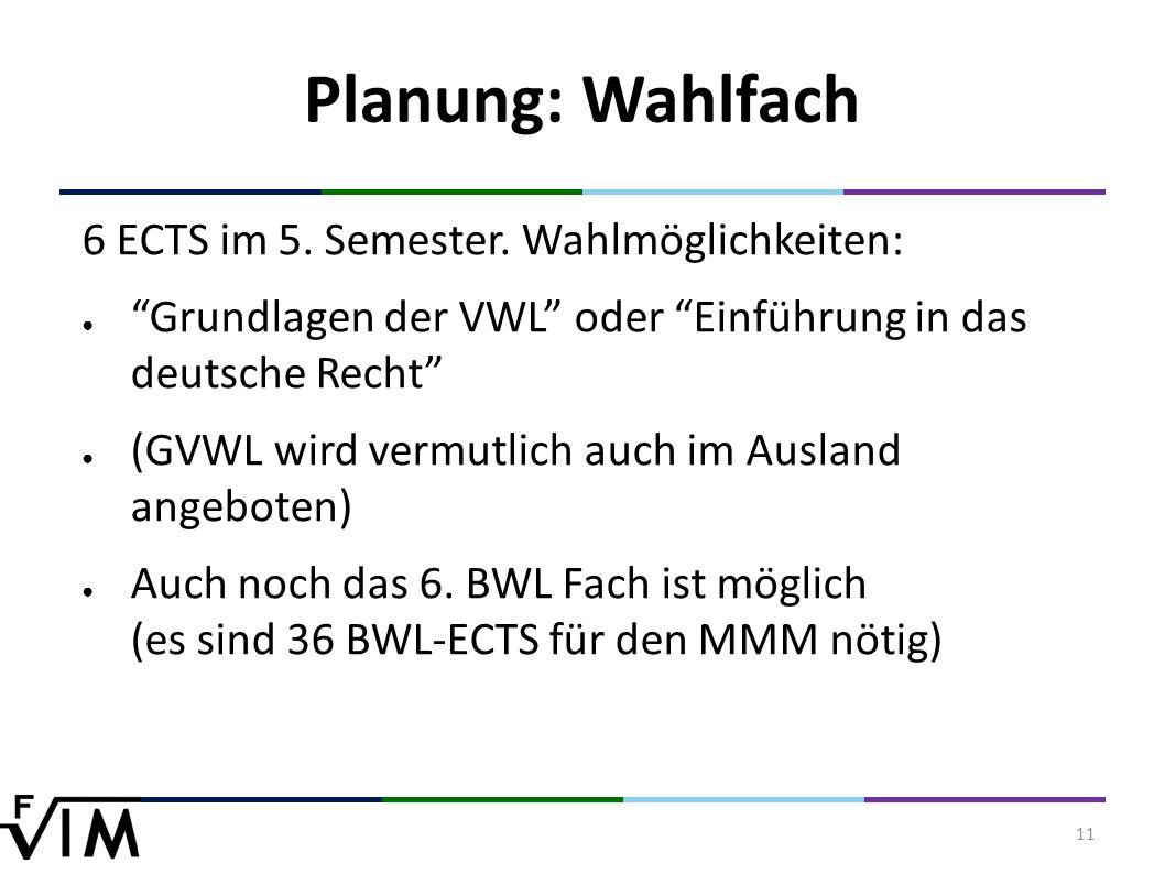 11 Planung: Wahlfach 6 ECTS im 5. Semester.