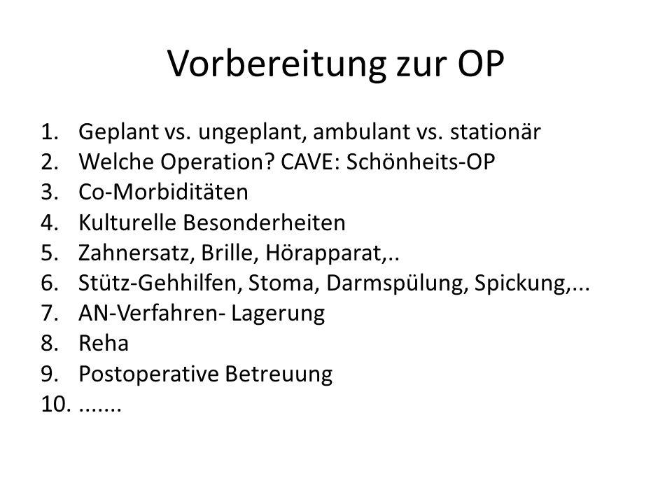 Vorbereitung zur OP 1.Geplant vs. ungeplant, ambulant vs. stationär 2.Welche Operation? CAVE: Schönheits-OP 3.Co-Morbiditäten 4.Kulturelle Besonderhei