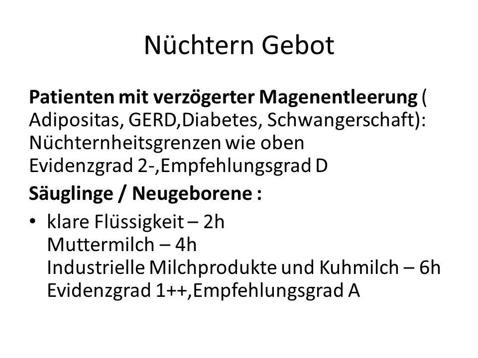 Nüchtern Gebot Patienten mit verzögerter Magenentleerung ( Adipositas, GERD,Diabetes, Schwangerschaft): Nüchternheitsgrenzen wie oben Evidenzgrad 2-
