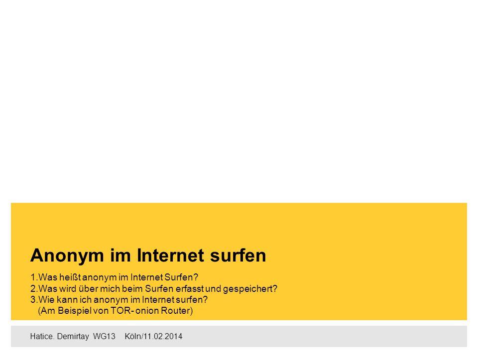 Hatice. Demirtay WG13  Köln/11.02.2014 1.Was heißt anonym im Internet Surfen? 2.Was wird über mich beim Surfen erfasst und gespeichert? 3.Wie kann
