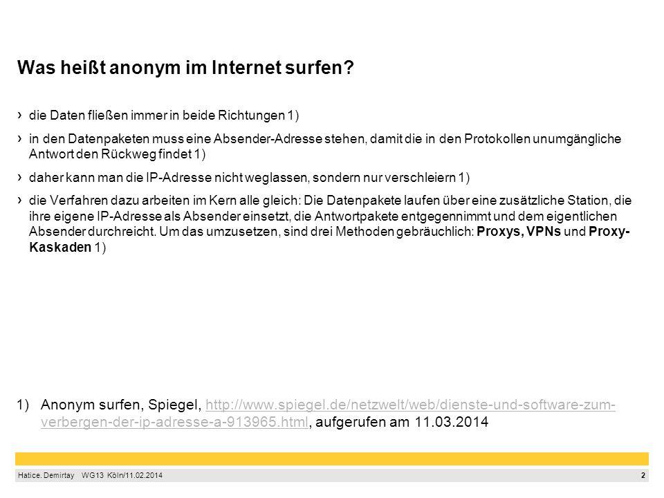 2 Hatice. Demirtay  WG13 Köln/11.02.2014 Was heißt anonym im Internet surfen? die Daten fließen immer in beide Richtungen 1) in den Datenpaketen m