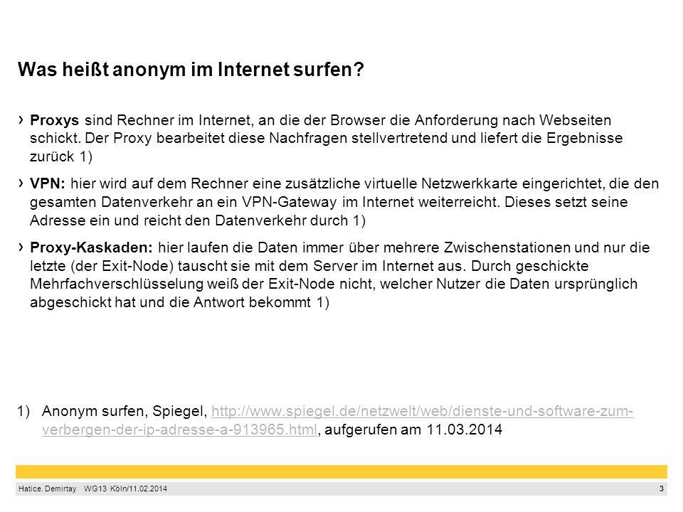3 Hatice. Demirtay  WG13 Köln/11.02.2014 Was heißt anonym im Internet surfen? Proxys sind Rechner im Internet, an die der Browser die Anforderung