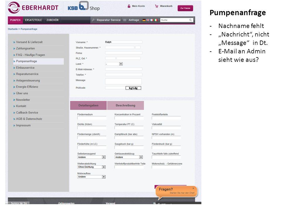 """-Nachname fehlt -""""Nachricht , nicht """"Message in Dt. -E-Mail an Admin sieht wie aus Pumpenanfrage"""