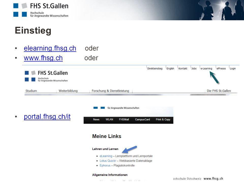 Einstieg elearning.fhsg.ch oderelearning.fhsg.ch www.fhsg.ch oderwww.fhsg.ch portal.fhsg.ch/it