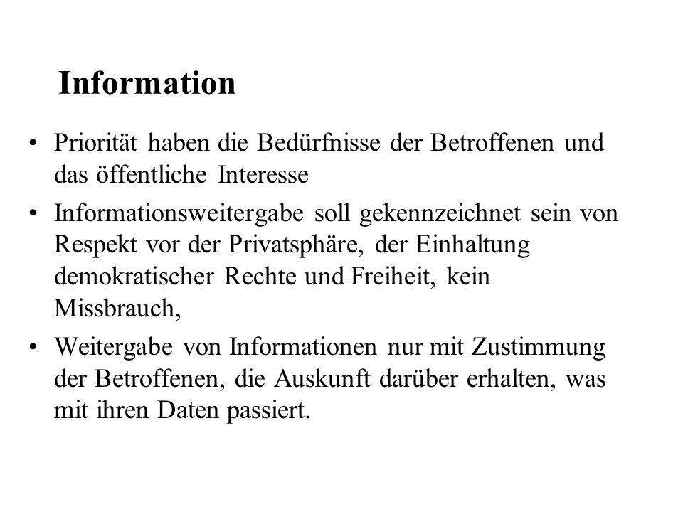 Information Priorität haben die Bedürfnisse der Betroffenen und das öffentliche Interesse Informationsweitergabe soll gekennzeichnet sein von Respekt