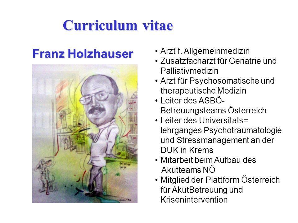 Arzt f. Allgemeinmedizin Zusatzfacharzt für Geriatrie und Palliativmedizin Arzt für Psychosomatische und therapeutische Medizin Leiter des ASBÖ- Betre