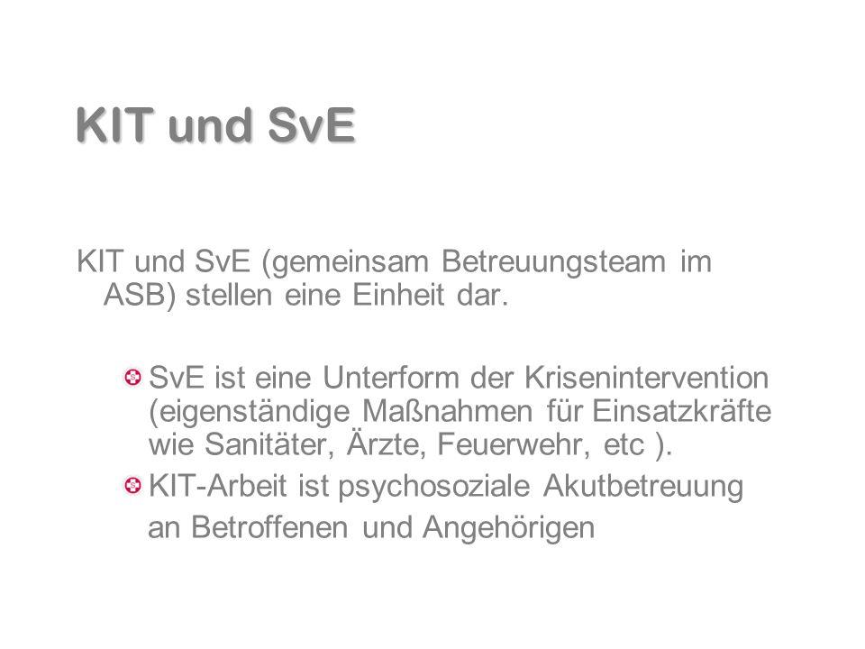 KIT und SvE KIT und SvE (gemeinsam Betreuungsteam im ASB) stellen eine Einheit dar. SvE ist eine Unterform der Krisenintervention (eigenständige Maßna
