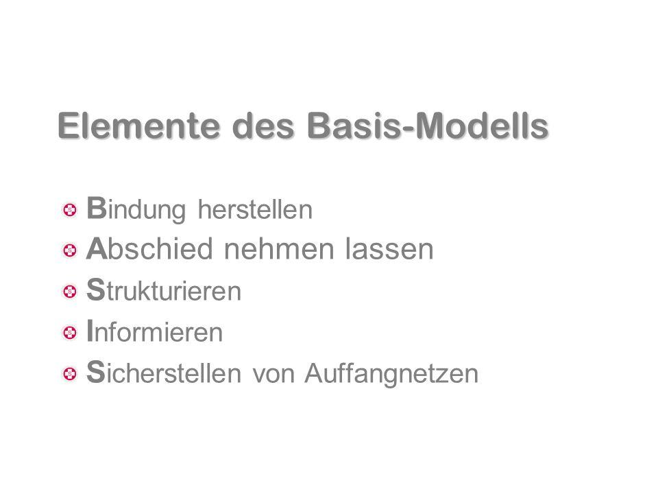 Elemente des Basis-Modells B indung herstellen Abschied nehmen lassen S trukturieren I nformieren S icherstellen von Auffangnetzen