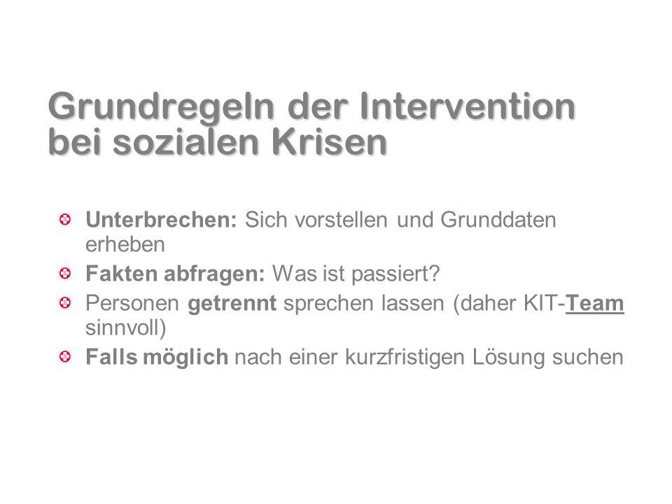 Grundregeln der Intervention bei sozialen Krisen Unterbrechen: Sich vorstellen und Grunddaten erheben Fakten abfragen: Was ist passiert? Personen getr