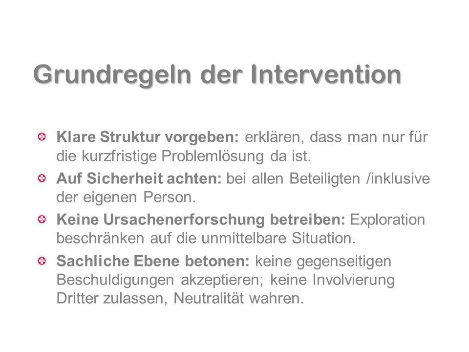 Grundregeln der Intervention Klare Struktur vorgeben: erklären, dass man nur für die kurzfristige Problemlösung da ist. Auf Sicherheit achten: bei all