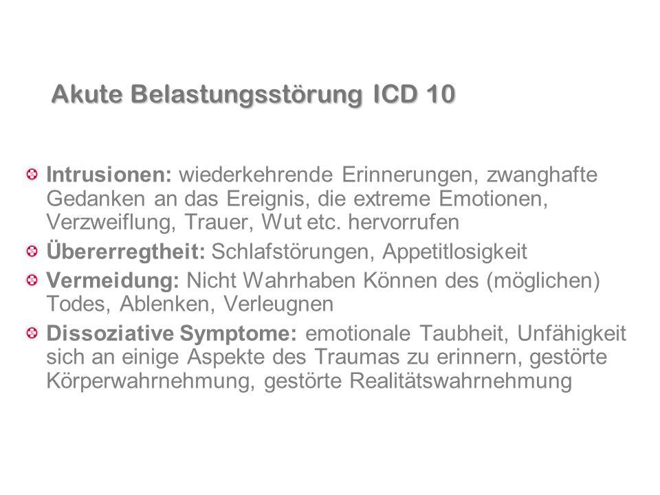 Akute Belastungsstörung ICD 10 Intrusionen: wiederkehrende Erinnerungen, zwanghafte Gedanken an das Ereignis, die extreme Emotionen, Verzweiflung, Tra