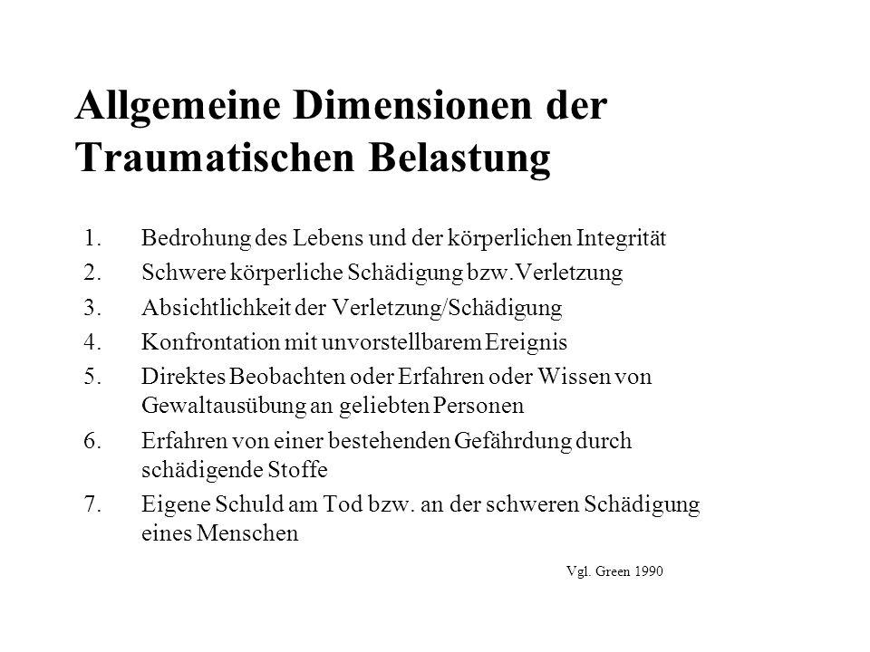 Allgemeine Dimensionen der Traumatischen Belastung 1.Bedrohung des Lebens und der körperlichen Integrität 2.Schwere körperliche Schädigung bzw.Verletz