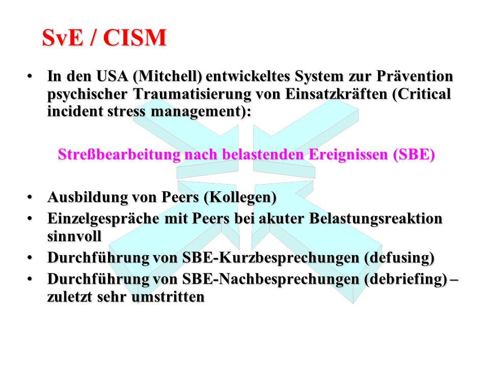 SvE / CISM In den USA (Mitchell) entwickeltes System zur Prävention psychischer Traumatisierung von Einsatzkräften (Critical incident stress managemen