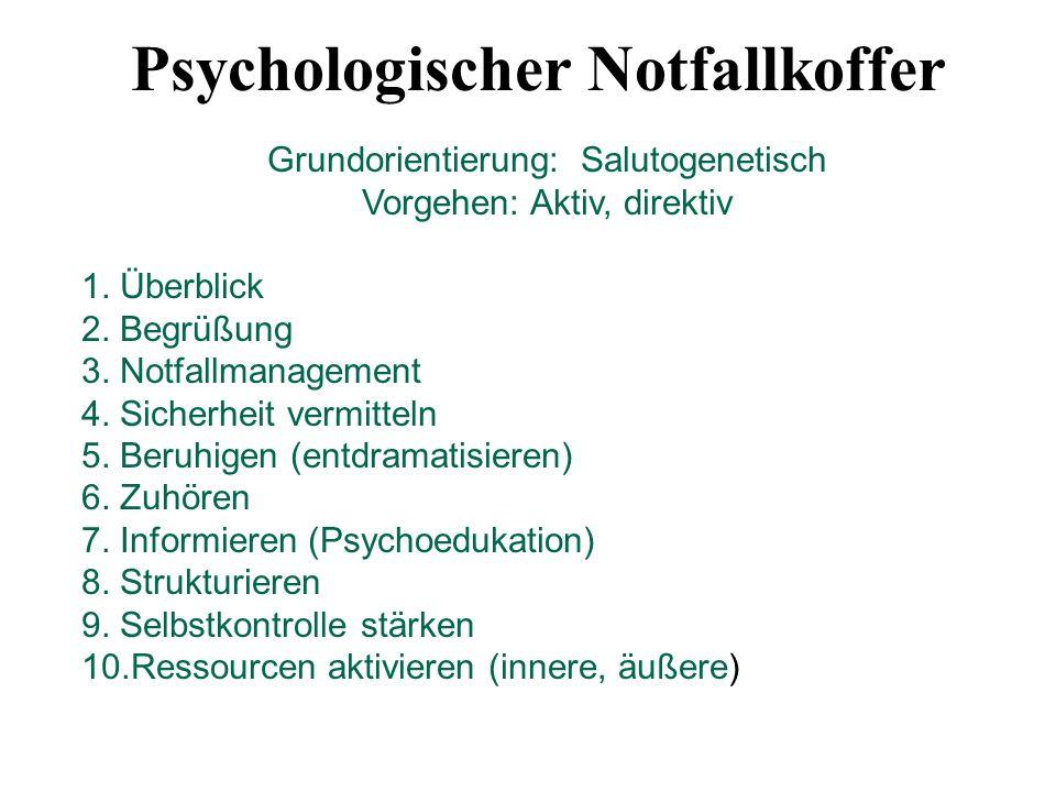 Psychologischer Notfallkoffer Grundorientierung: Salutogenetisch Vorgehen: Aktiv, direktiv 1. Überblick 2. Begrüßung 3. Notfallmanagement 4. Sicherhei