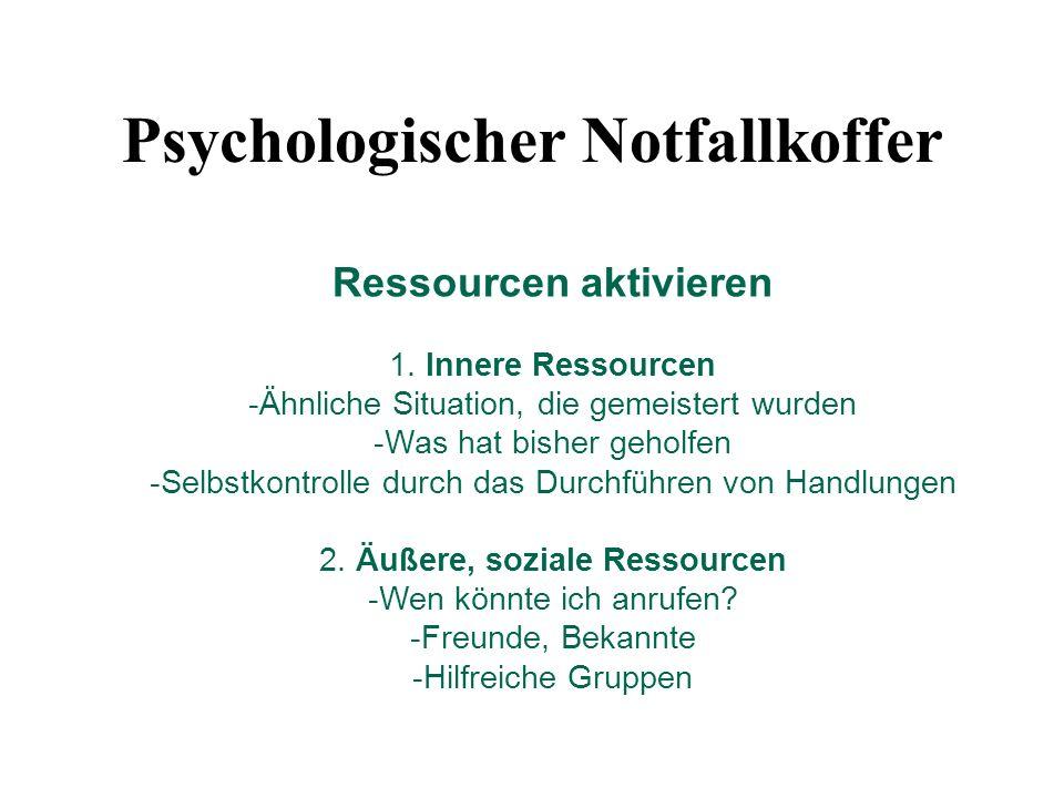Ressourcen aktivieren 1. Innere Ressourcen -Ähnliche Situation, die gemeistert wurden -Was hat bisher geholfen -Selbstkontrolle durch das Durchführen