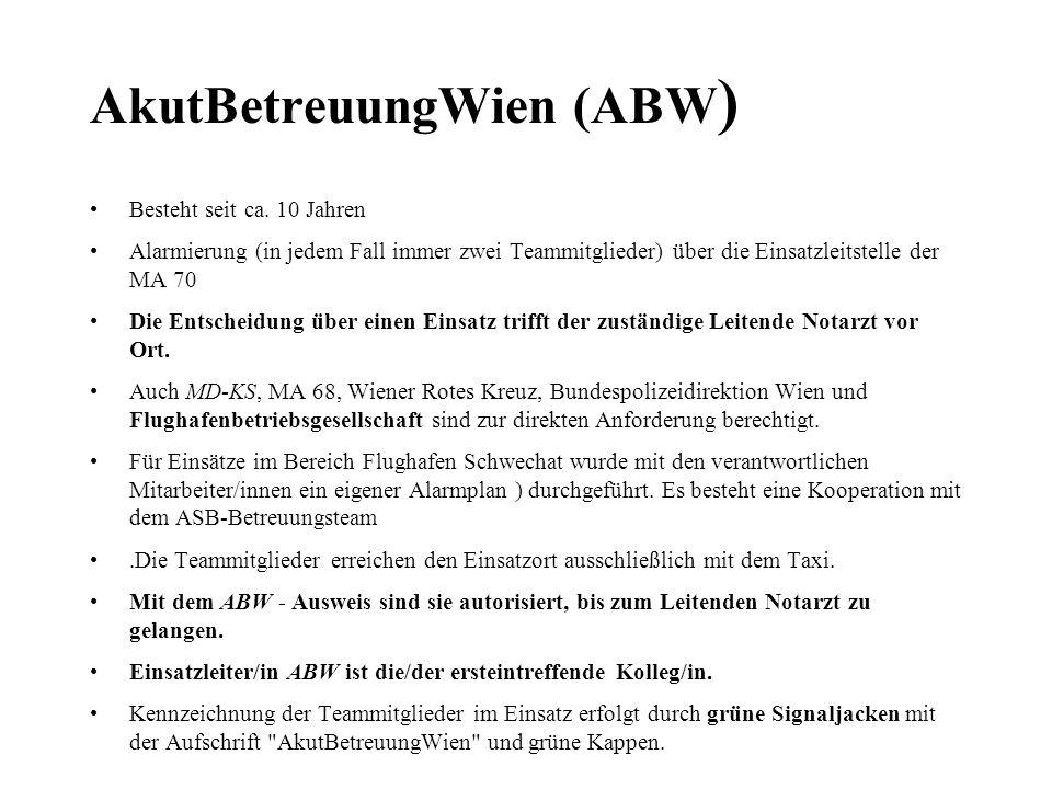 AkutBetreuungWien (ABW ) Besteht seit ca. 10 Jahren Alarmierung (in jedem Fall immer zwei Teammitglieder) über die Einsatzleitstelle der MA 70 Die Ent