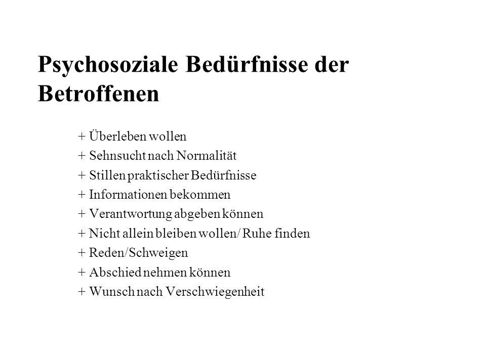 Psychosoziale Bedürfnisse der Betroffenen + Überleben wollen + Sehnsucht nach Normalität + Stillen praktischer Bedürfnisse + Informationen bekommen +