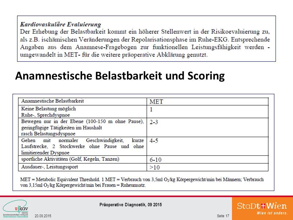 Anamnestische Belastbarkeit und Scoring Seite 1720.09.2015 Präoperative Diagnostik, 09 2015