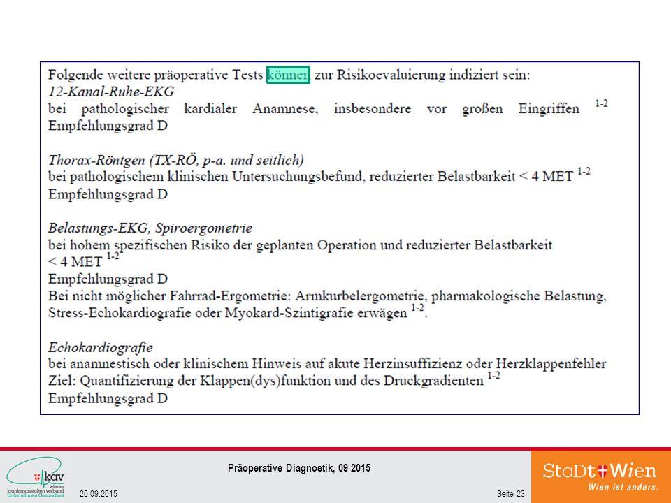 Seite 2320.09.2015 Präoperative Diagnostik, 09 2015