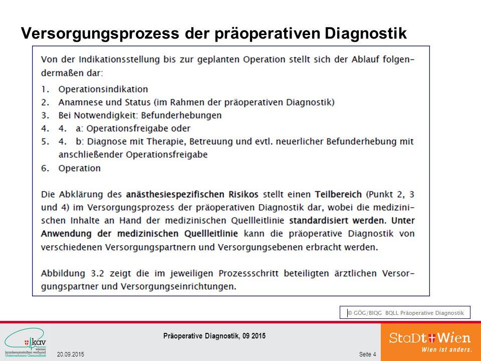 Versorgungsprozess der präoperativen Diagnostik Seite 420.09.2015 Präoperative Diagnostik, 09 2015
