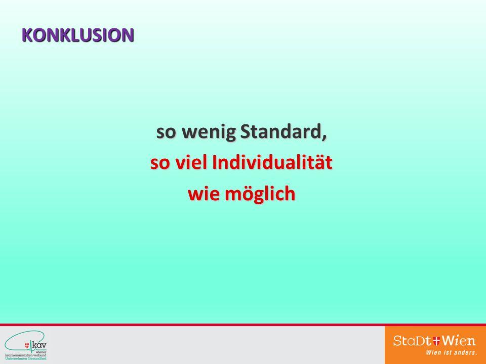 KONKLUSION so wenig Standard, so viel Individualität wie möglich