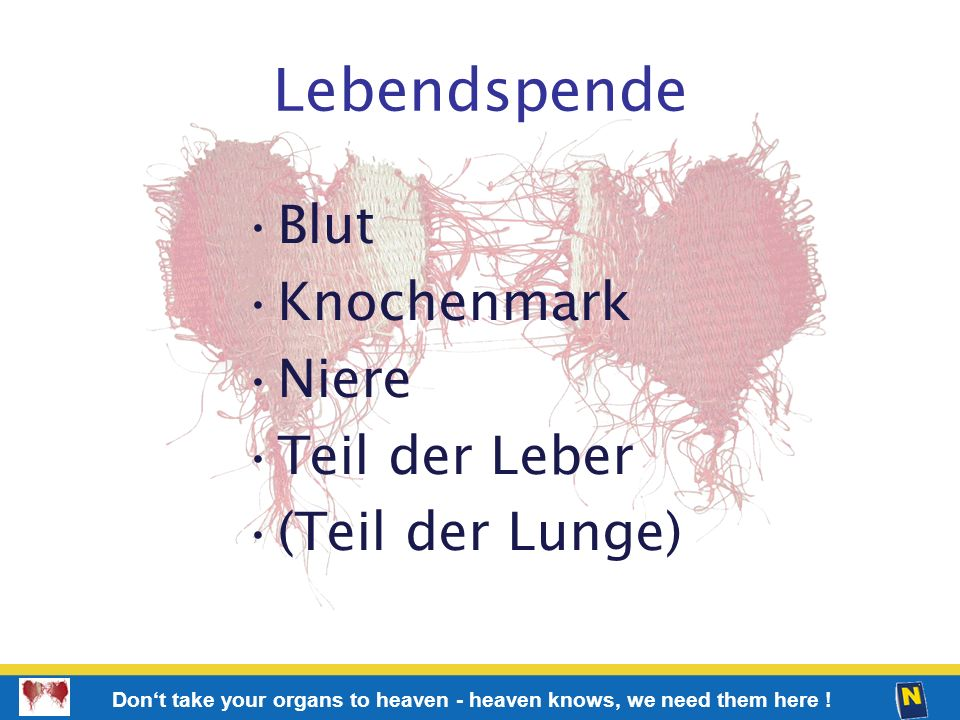 64 Don't take your organs to heaven - heaven knows, we need them here ! Lebendspende Blut Knochenmark Niere Teil der Leber (Teil der Lunge)