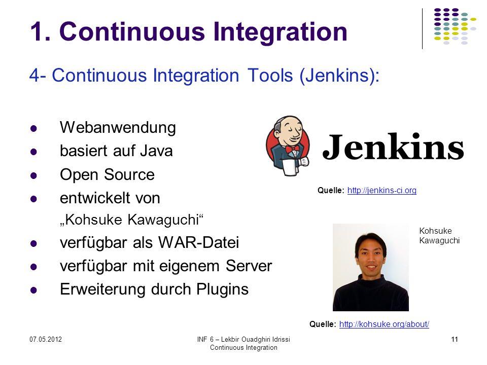 1107.05.2012INF 6 – Lekbir Ouadghiri Idrissi Continuous Integration 11 1. Continuous Integration 4- Continuous Integration Tools (Jenkins): Webanwendu