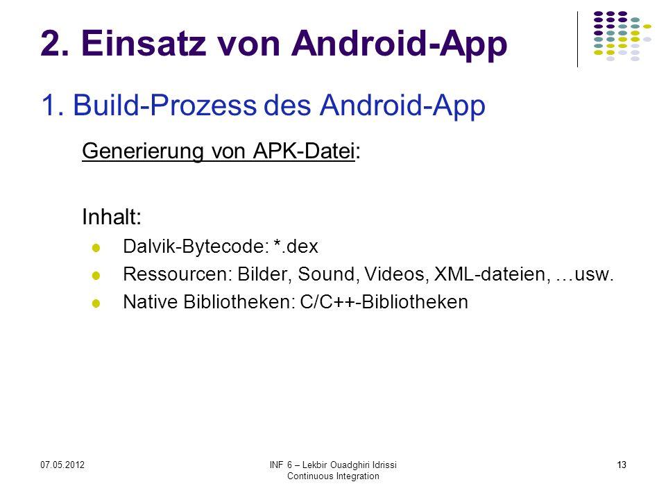 1307.05.2012INF 6 – Lekbir Ouadghiri Idrissi Continuous Integration 13 2. Einsatz von Android-App 1. Build-Prozess des Android-App Generierung von APK
