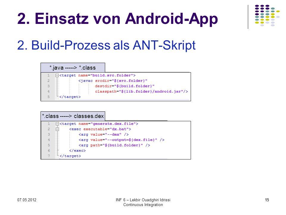 1507.05.2012INF 6 – Lekbir Ouadghiri Idrissi Continuous Integration 15 2. Einsatz von Android-App 2. Build-Prozess als ANT-Skript *.java -----> *.clas