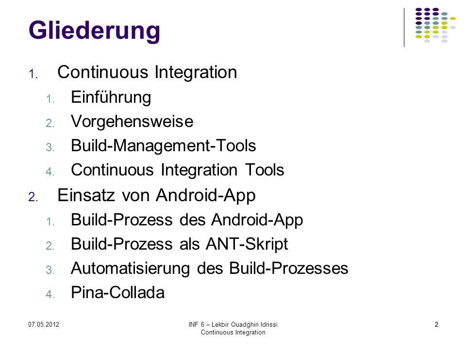207.05.2012INF 6 – Lekbir Ouadghiri Idrissi Continuous Integration 2 Gliederung 1. Continuous Integration 1. Einführung 2. Vorgehensweise 3. Build-Man
