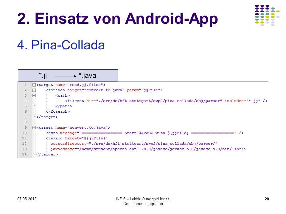 2007.05.2012INF 6 – Lekbir Ouadghiri Idrissi Continuous Integration 20 2. Einsatz von Android-App 4. Pina-Collada *.jj *.java