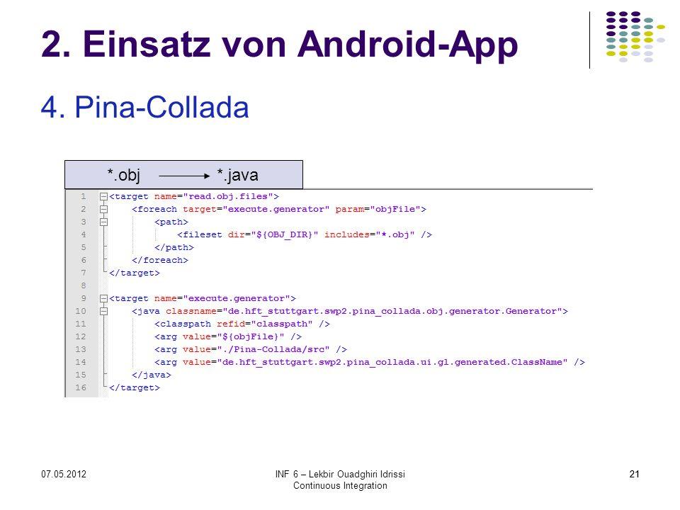 2107.05.2012INF 6 – Lekbir Ouadghiri Idrissi Continuous Integration 21 2. Einsatz von Android-App 4. Pina-Collada *.obj *.java