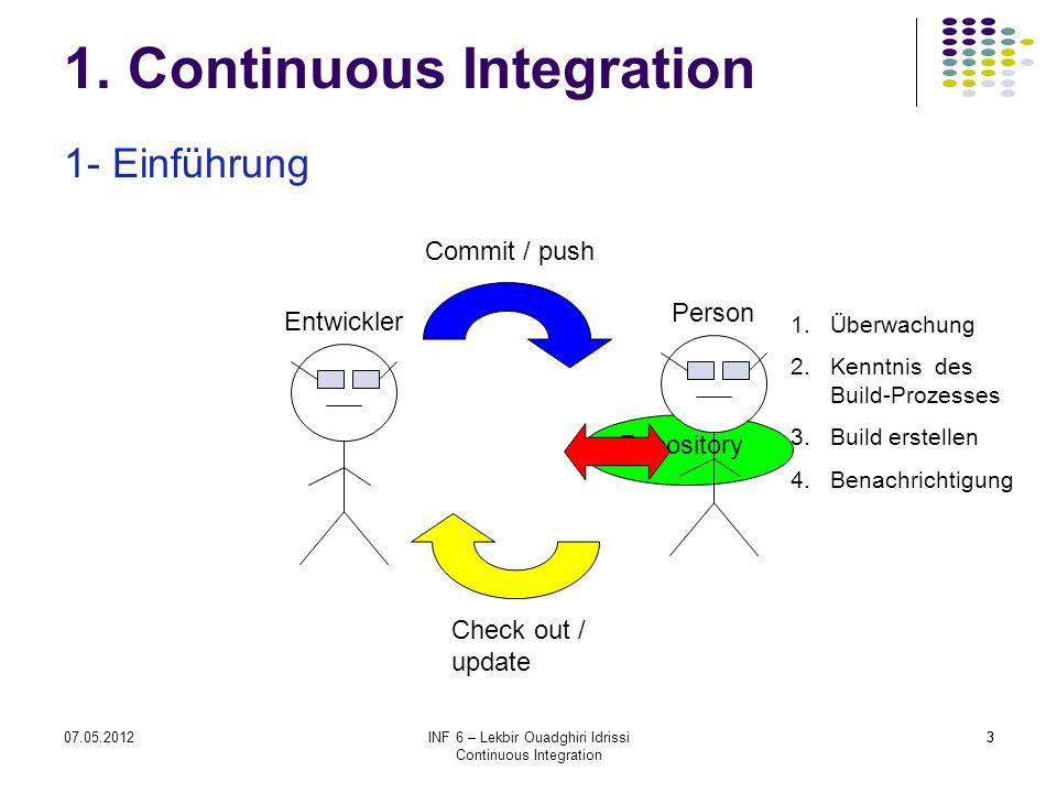 307.05.2012INF 6 – Lekbir Ouadghiri Idrissi Continuous Integration 3 1.