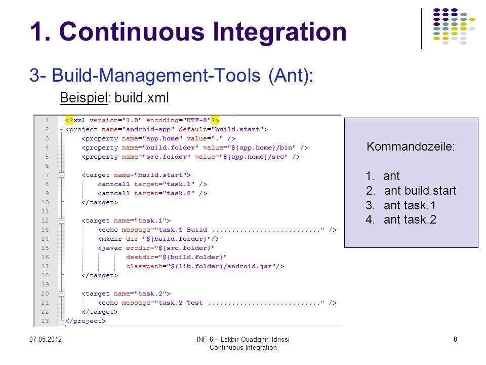 807.05.2012INF 6 – Lekbir Ouadghiri Idrissi Continuous Integration 8 1. Continuous Integration 3- Build-Management-Tools (Ant): Beispiel: build.xml Ko
